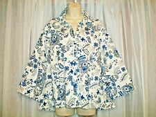 CATO SOFT BLUE WHITE PAISLEY THIN COTTON STRETCH SHIRT BLOUSE~LONGER BACK~22/24~