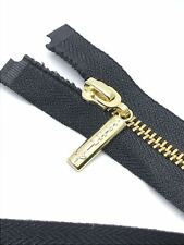 2 x Black 66cm Gold Metal Open Ended  No:5 Weight Teeth Zip with Fancy Puller