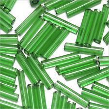 Perles de Rocailles Tubes en verre Transparent 9x2mm Vert 20g