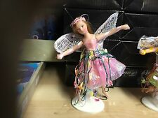 """SMALL 5"""" PORCELAIN PINK FAIRY FIGURE ORNAMENT DOLL WITH STAND OR CAN BE HUNG"""