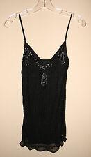 NEW LAUNDRY Shelli Segal NWT, 100% Silk Black Beaded Women's Top $75, XS