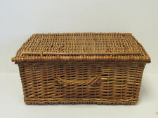 More details for vintage traditional style wicker rectangular picnic hamper or basket with handle