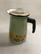 Vintage Enamel Ware Mod Flower Floral Green Coffee Pot Complete Nos (X69)