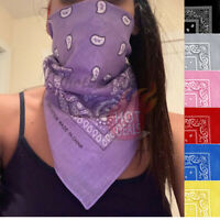 Lot 3 PCS Women's Bandana Scarves Paisley Head Face Mask Wrap Scarf 100% Cotton