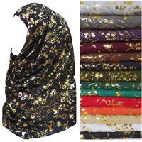 Metallic Gold Glitters Floral Pattern Muslim Hijab Scarf Long Shawl Head Wrap