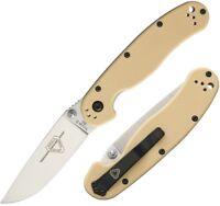 "Ontario RAT II Folding Knife 3"" D2 Tool Steel Drop Point Blade Desert G10 Handle"
