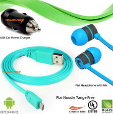 3-in-1 For Samsung Micro USB Data Cable w/Headset Headphone Earbuds Earphone Mic