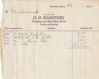 U.S. D. H. Marsters R. Oregon 1913 Plumbing & Sheet Metal Work Invoice Ref 41792