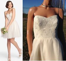 """NWT GATHER & GOWN """"Wallace"""" 560 Cream Lace/Tulle Mini Ball Gown Wedding Dress~12"""
