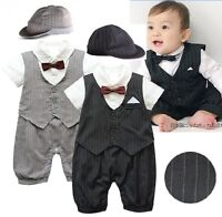 Baby Boy Wedding Formal Tuxedo Suit Romper Clothes Outfit+HAT Set 0-18M NEWBORN