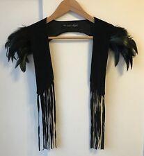 SABIO DESIGNS Shoulder Feathers Vest Bolero Black Velvet Peacock MONA Museum NEW