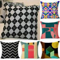 Geometric Case Cushion Cover Decor Cotton Linen Bohemian Vintage Flower Pillow