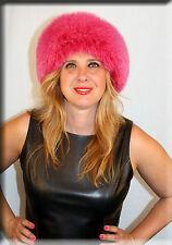 New Pink Leather Hat Pink Fox Fur Trim - Efurs4less