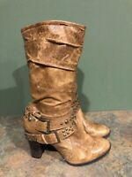 ANA BROWN LEATHER SIDE ZIP HEELED STUDDED MID CALF BOOTS SIZE 8M