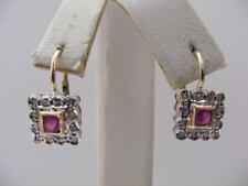 Orecchini donna rubini diamanti oro rosa 14KT Artigianali stile antico