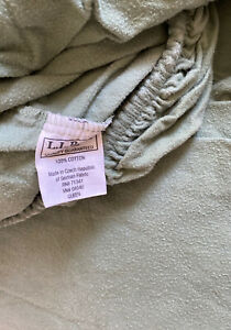 LL Bean 2 Pieces Solid Green QUEEN Heavy Flannel Sheet Fitted & Flat ONLY