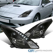 For 00-05 Toyota Celica Black LED DRL Strip Projector Headlights Head Lamps Pair