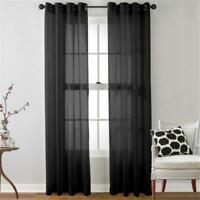 Black Voile Sheer Curtain Panel Window Balcony Tulle Room Divider Valances ##Jʌ