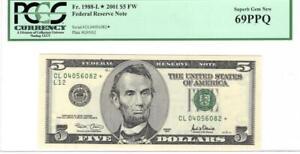 Fr. 1988-L* $5 2001 Fed Res Star Note PCGS Superb Gem Unc 69 PPQ