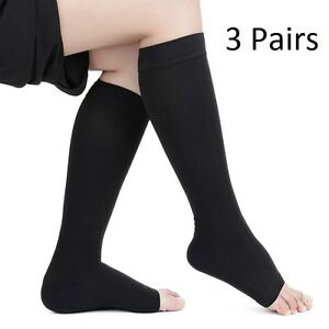 OPEN TOE Compression Socks Support Stockings Men's Women's S~XXL ~ (3 Pairs)