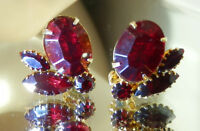HIGH END Ruby Red Rhinestone Vintage 60's Gold Tone Clip Earrings  669jl8