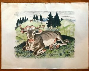 "1922 Original Colour Print Signed by Richard Seewald 'Ox' 14 x 18"" German"
