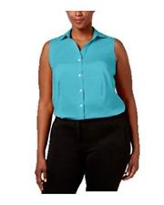 Charter Club Womens Woman Blue Top Button-down Top Blouse Plus 14w BHFO 2722