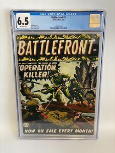 BATTLEFRONT #1 CGC 6.5 (Atlas 1952) Classic Pre-code War Series! New Slab! OW Pg
