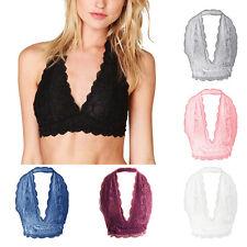 Women Lady Scalloped Unpadded Lace Halter Neck Bra Bralette Bustier Crop Top