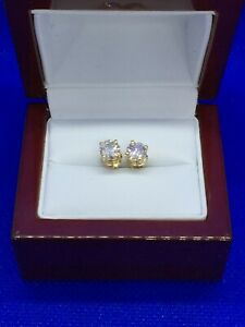 14K YELLOW GOLD 1.00 TCW ROUND DIAMOND STUD EARRINGS