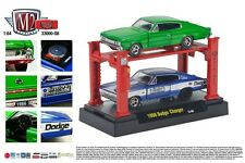 AUTO LIFT WITH TWO 1966 DODGE CHARGERS M2 MACHINES 1:64 SCALE DIECAST METAL CARS