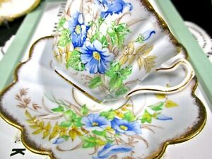 ROSINA tea cup and saucer Fairy shape and blue with blue bell flowers teacup 40s