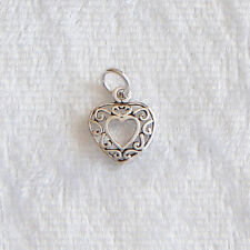 Sterling Silver Filigree Open Heart Charm Small 9mm 925