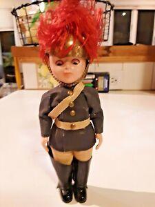 Vintage English Soldier Queens Guard Doll Hard Plastic Brass Helmet