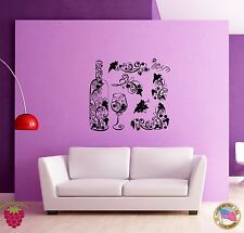 Wall Stickers Vinyl Decal Wine Bottle Glases Vine For Kitchen Grape (z1748)