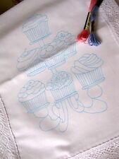 Printed to hand Embroider Table Runner with Cup Cakes cotton, lace edge CS0019