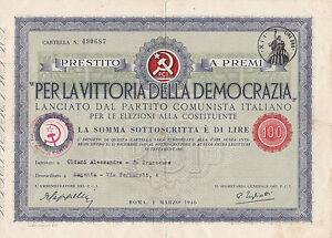 PER LA VITTORIA DELLA DEMOCRAZIA PRESTITO P.C.I. LIRE 100 SAVONA 3-203TRIS