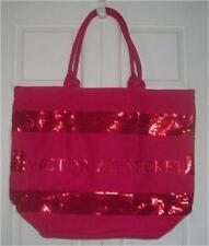 Victoria's Secret Tote Bag Pink 2011 Holiday Red Sequins Striped Large Canvas