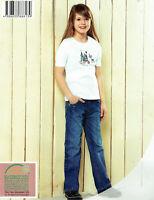hochwertige Kinder Jeans 100% Baumwolle Jeanshose Mädchen Gummizug regular fit