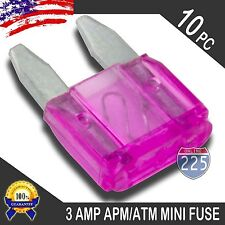 10 Pack 3A Mini Blade Style Fuses APM/ATM 32V Short Circuit Protection Car Fuse