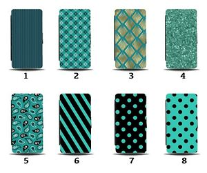 Dark Turquoise Green Flip Wallet Case Gold Floral Polka Dot Black Teal 8133