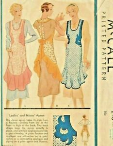 Beautiful Vintage McCall 1930's Full Size Reproduction Apron Sewing Pattern #248