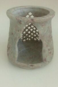 Hand Carved Soapstone Candle Holder.Intricate jali designs, Made in India.
