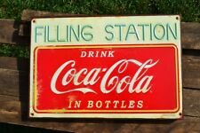 Coca-Cola Filling Station Embossed Tin Metal Sign - Coke In Bottles - Retro