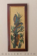 RARE ANEK! MID CENTURY EXOTIC BIRD PAINTING! ROSEWOOD ART EAMES VTG 1950S ATOMIC