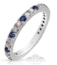 Platinum Sapphire & Diamond Wedding Band, 0.71 tcw Custom Natural Sapphire Band