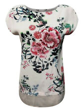New Ex F&F Ladies Pink Floral Summer Top Size 6 - 22 Cap Sleeve Step Hem Casual