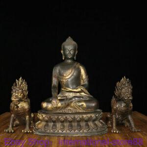 """19.2"""" Rare Old Chinese Bronze Gilt Shakyamuni Buddha Qilin Beast Sculpture Pair"""