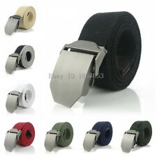 Mens Canvas Belt Waist Belts Cotton Webbing Adjustable Smooth Buckle Plus Size