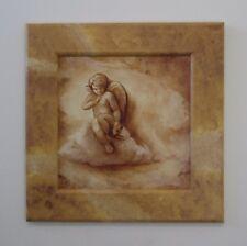 Wandbild Kunstdruck Bild Rahmen bemalt Engel Flügel Wolken Himmel Braun 42x42cm